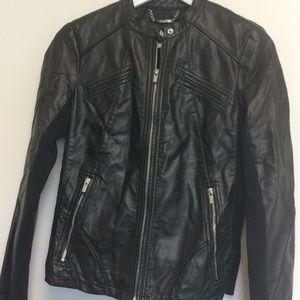 Express faux leather black jacket size small